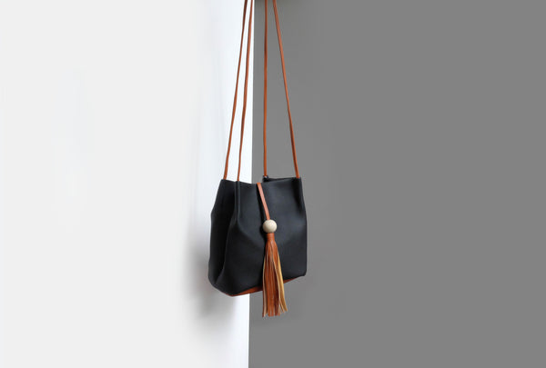Camille Tassel Bucket Bag Black