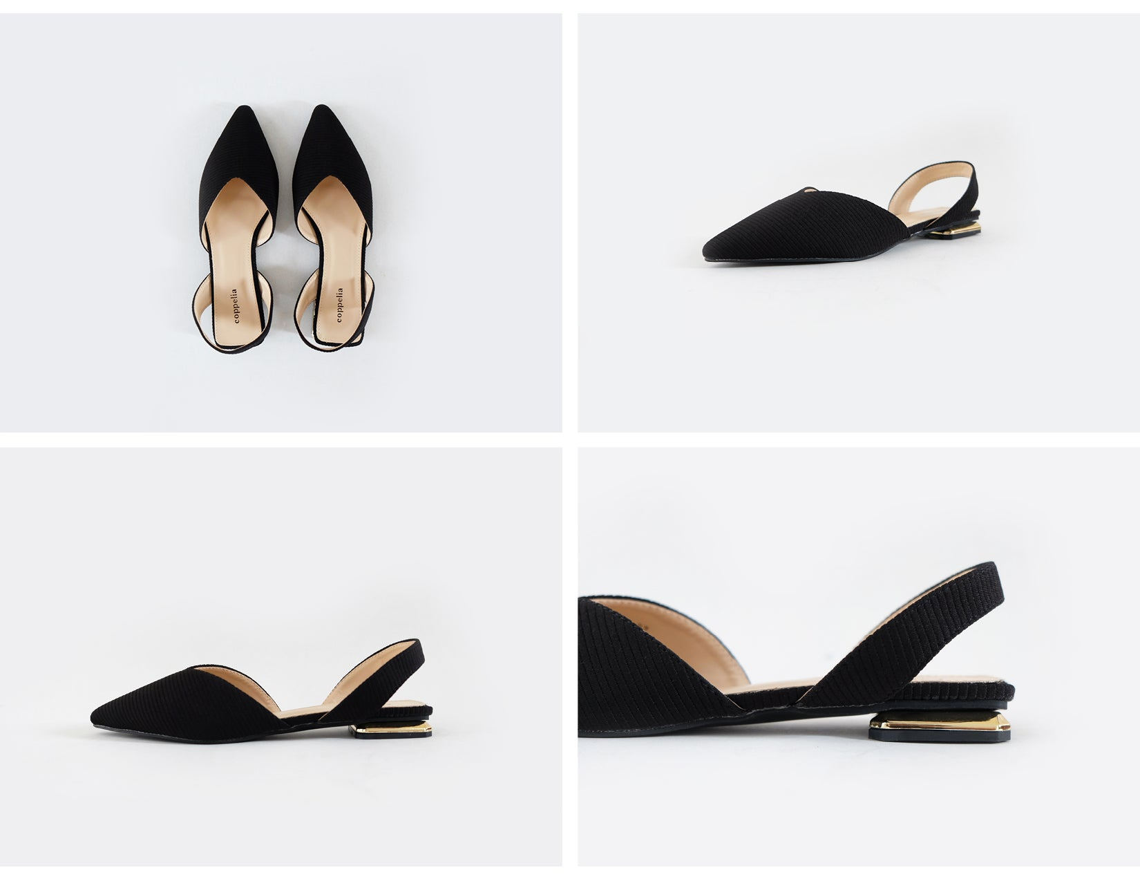 Pina - Pointy Sling Back Flats - Black