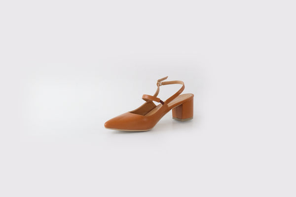 Eva Mary-Jane Mid Heels Tan