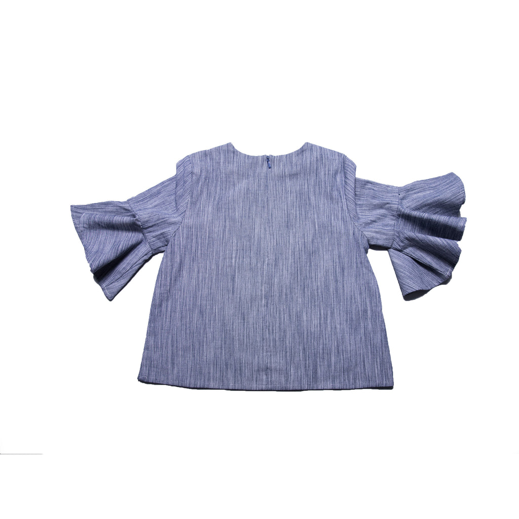 Rosie Top (Navy Gingham Weave)