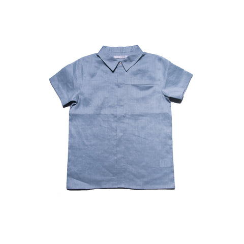 Penn Shirt with Collar (Blue Grey Linen)