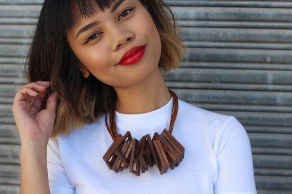 Wood Statement Necklace - Aora Jewellery