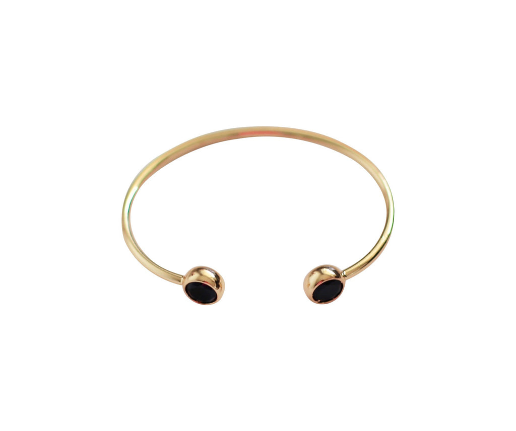 Gold Bracelet with Black Stones