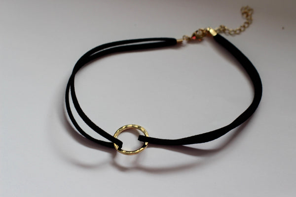 Black Choker with Gold Circle