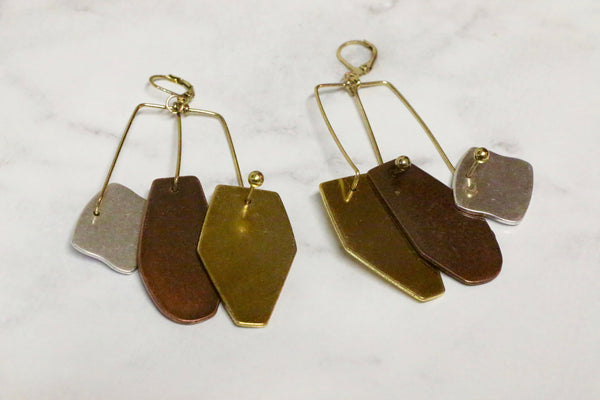 Mixed Metals Earrings - Aora Jewellery