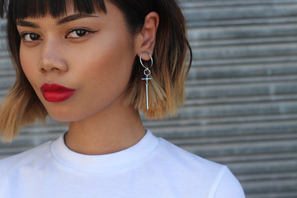 Cross Circle Drop Earrings