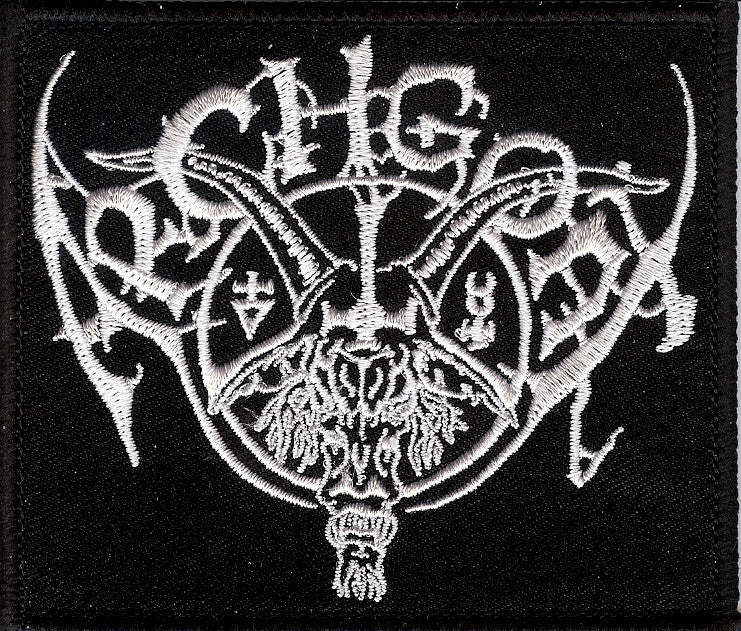 Archgoat white embroidered patch