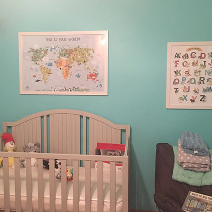 Nursery Decor for Girls World Map and Alphabet by Pictureta.com