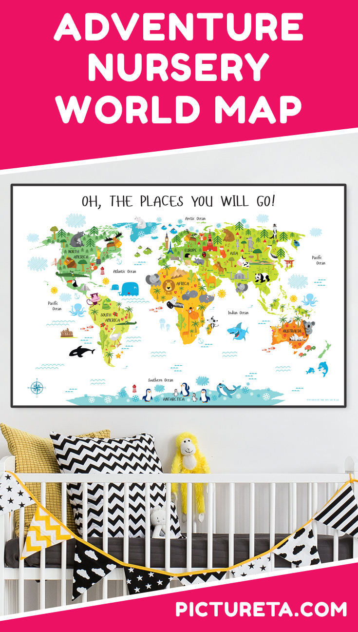 Create adventure nursery for your baby with Pictureta's world map. I wish I had this map when growing up. It is full of adorable animals and famous landmarks and looks awesome in my baby's nursery. Get yours at PICTURETA.COM | adventure nursery, adventure nursery world maps, adventure nursery wall, adventure nursery theme, adventure nursery theme boys rooms, adventure nursery theme worlds maps, nursery décor, travel nursery, animal nursery, world nursery, around the world, playroom décor #adventurenursery #nurserydecor #travelnursery