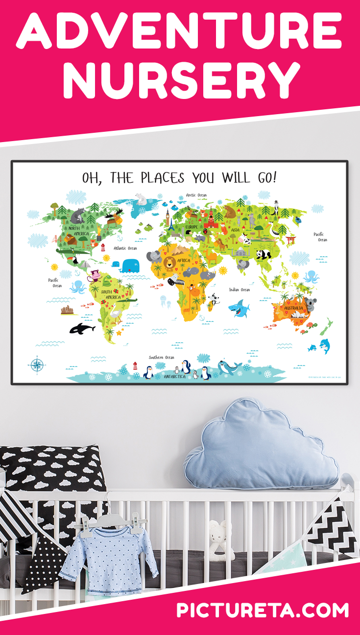 I love my son's new Adventure Nursery with modern world map from Pictureta. It's super cute and looks amazing above his crib. Get yours at PICTURETA.COM | adventure nursery, adventure nursery boy, adventure nursery neutral, adventure nursery theme, adventure nursery world maps, travel adventure nursery, adventure nursery décor, adventure nursery printables, baby adventure nursery, adventure nursery ideas, adventure nursery art #adventurenursery #nurserydecor #travelnursery