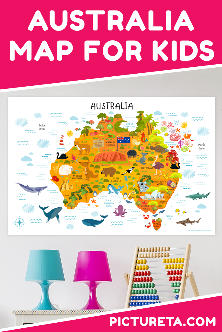 this map of australia for kids is absolutely amazing and has modern design that looks perfect