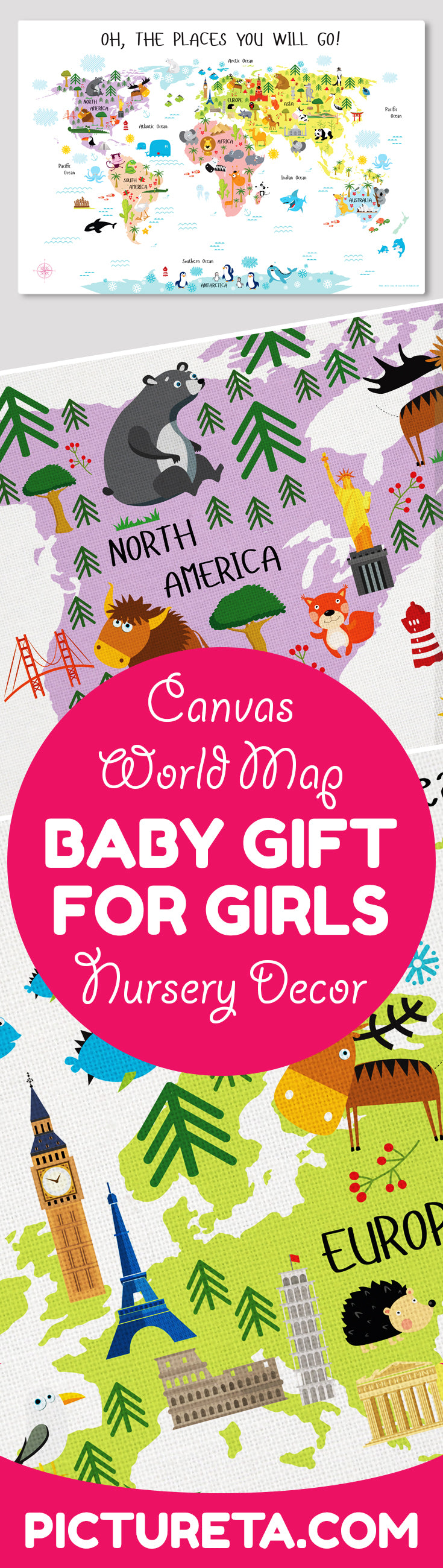 baby gift for girls nursery decor world map canvas