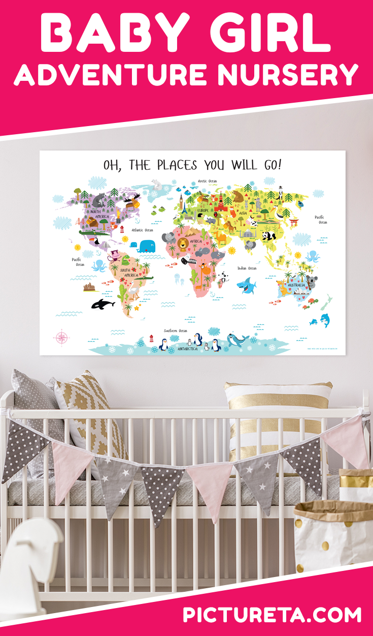 Awesome Adventure Nursery for Girl that will make your child's nursery inspirational and educational. Get your world map at PICTURETA.COM | adventure nursery girl, adventure nursery girl travel themes, adventure nursery girl art prints, adventure nursery girl baby shower gifts, adventure nursery girl baby shower gifts #adventurenursery #nurserydecor #travelnursery #babygirlnursery