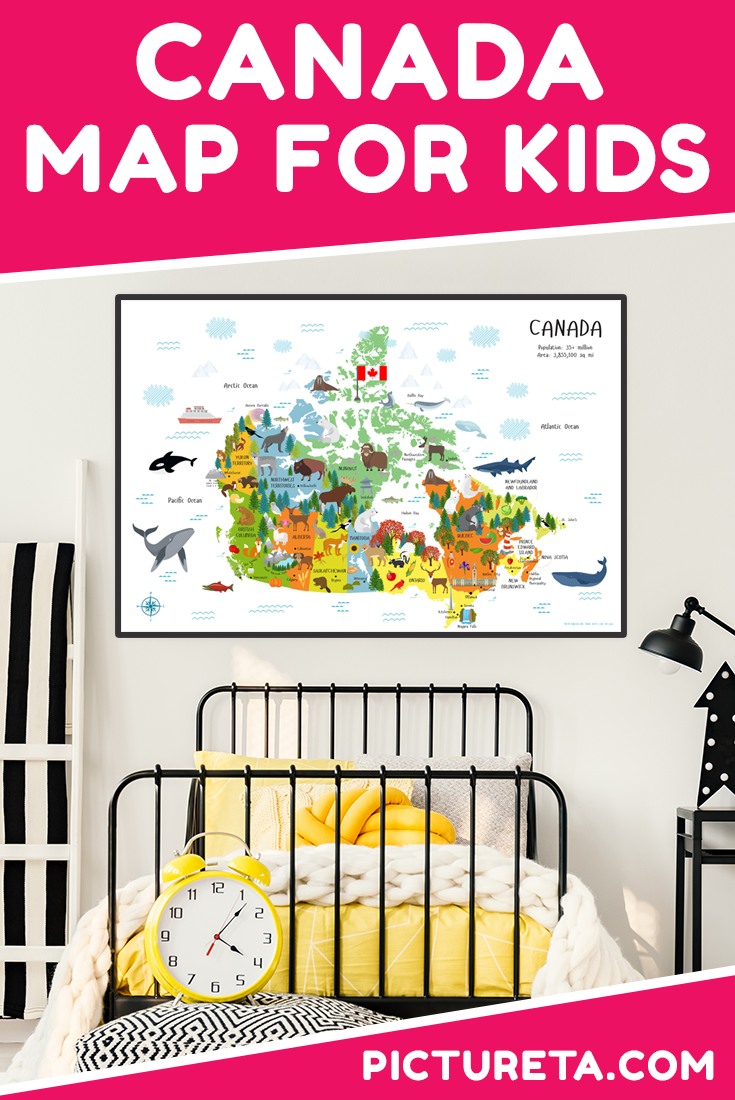 Adorable map of Canada for kids looks amazing in my kid's playroom. They love to find Canadian animals, landmarks and show what fruits and vegetables grow in Canada. Very educational wall décor that our entire family loves to explore. Get yours at PICTURETA.COM | map of Canada, map of Canada for kids, Canada map, travel Canada, map of Canada printable, playroom décor, nursery décor, classroom decoration, geography of Canada, baby gift, gift for kids, educational, map of canada with capitals #mapofcanada #playroomdecor #canadamap #canadaforkid