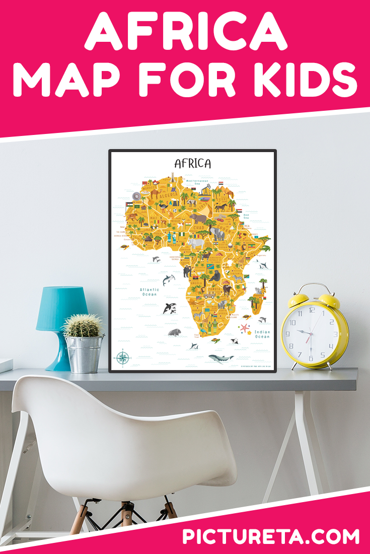 This colorful and educational map of Africa for kids is really fun to teach children about Africa. Full of detailed illustration, this map not only shows countries and cities, but also African culture, food, animals, agriculture and natural resource. Such an awesome addition to the preschool classroom. #africa #mapofafrica #africaforkids #playroomdecor #classroomposters