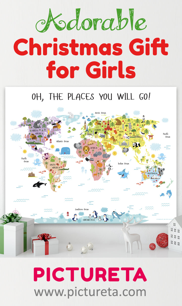 christmas gifts for girls by pictureta, world map canvas