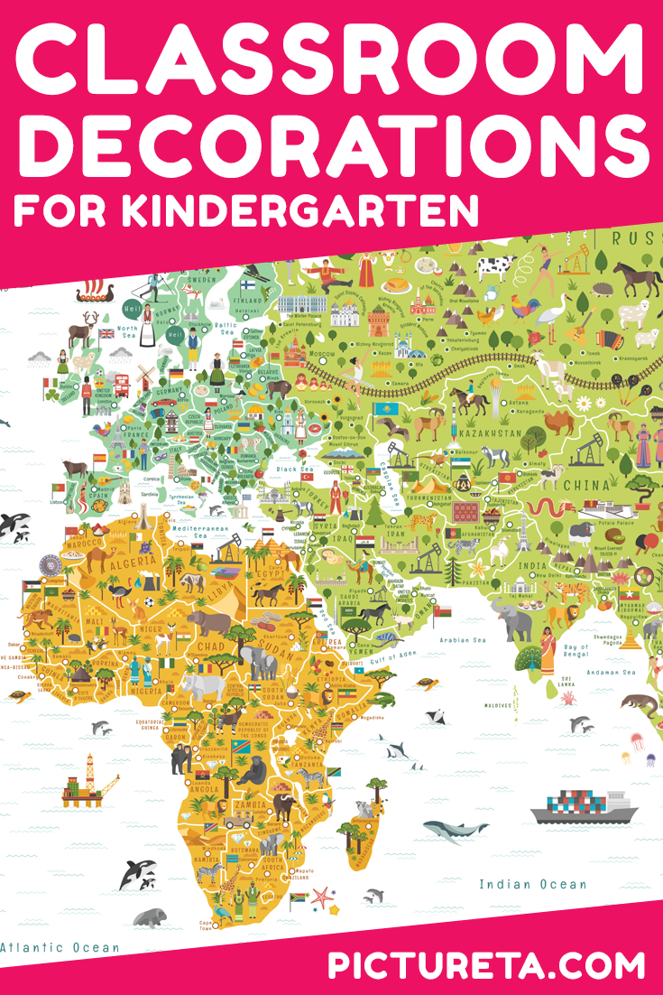 World map for kids classroom poster for kindergarten or elementary classroom decorations kindergarten perfect back to school classroom poster for kids to start school year gumiabroncs Gallery
