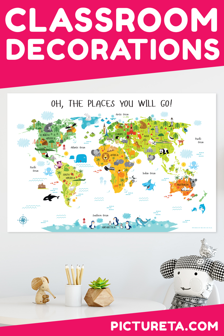 Classroom décor – perfect classroom poster for toddlers that will inspire their early education about the world. It will look perfect in the daycare playrooms. Children will learn about world's continents, animals and landmarks as their little hands travel the world pointing different object. Get yours at PICTURETA.COM