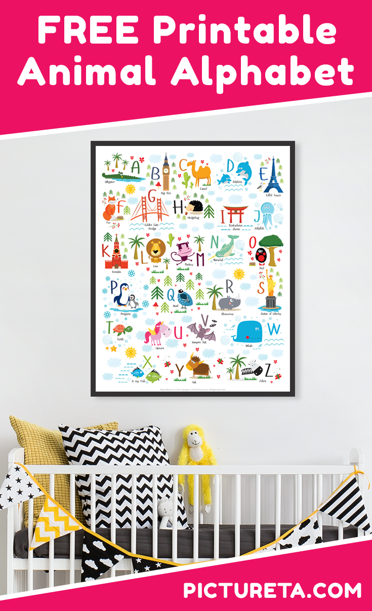 This adorable FREE nursery printables alphabet with animals and landmarks will be perfect addition to your child's nursery, playroom or classroom. Get yours at PICTURETA.COM | nursery printables, free nursery printables, nursery printables free boy, nursery printables free girl, nursery printables free animals, woodland nursery printables free, nursery printables free adventure, baby nursery printables free