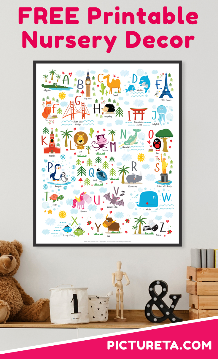 This super cute FREE nursery printables alphabet with animals and landmarks will be perfect addition to your child's nursery decor, playroom art or classroom poster. Get yours at PICTURETA.COM | free nursery printables animals, free nursery printables abc, abc printables, abc learning, abc wall, nursery decor boy, nursery decor girl, nursery decor animals, free baby printables, printable kids décor, nursery decor wall art