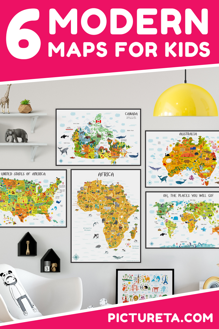 Pictureta's maps for kids will inspire your children to learn about the world. Create perfect travel nursery, fun playroom or decorate classroom to make learning geography fun for kids. Get your maps for kids at PICTURETA.COM | maps for kids, world map for kids, geography for kids, playroom décor, nursery décor, classroom decorations, classroom posters, unique gifts for kids, baby gifts, gifts for kids, gifts for kids that arent toys, usa map, Australia map, Canada map, world map, map of africa. #maps #mapsforkids #worldmap
