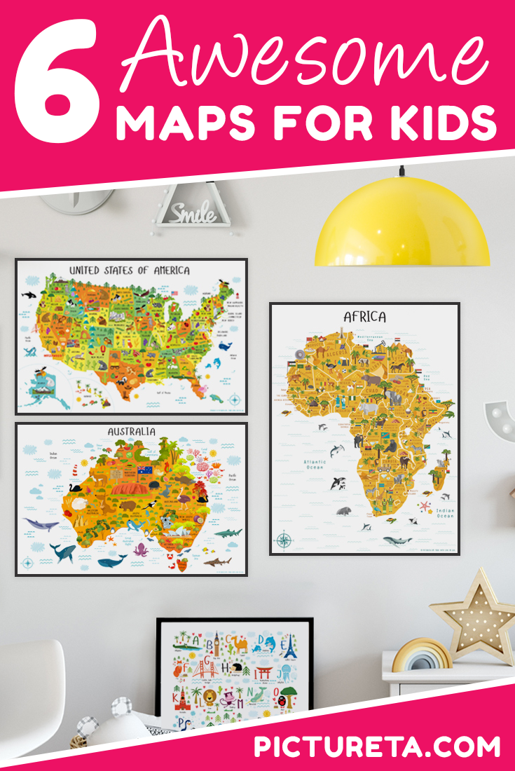 These awesome maps for kids by Pictureta are amazing way to inspire children to discover our world, learn about countries, animals, landmarks, experiences, languages and more. Get your maps for kids at PICTURETA.COM | maps for kids, Australia map, world map for kids, usa map for kids, Africa map for kids, travel map for kid, kids room décor, wall décor for kids, classroom posters #maps #worldmap #australiamap #canadamap #usamap
