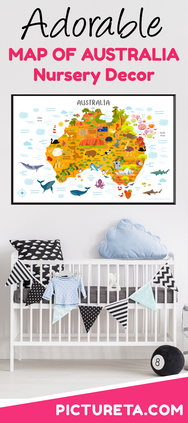 map of australia for kids with modern illustrations makes a perfect baby gift first birthday