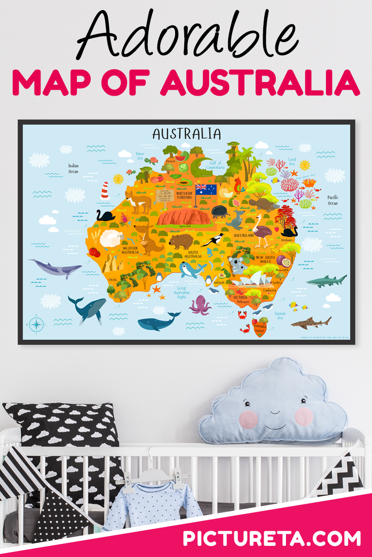 I love this map of Australia for kids. It is modern and looks awesome in my son's nursery. I can't wait for him to learn all the animals and landmarks about the country he was born in. Get yours at PICTURETA.COM | map of Australia, map of Australia for kids, Australia map, Australia map printables, Australia Geography, map of Australia prints, Map of Australia Illustration, #mapofaustralia #mapofaustraliaforkids #geographyforkids #australiageography