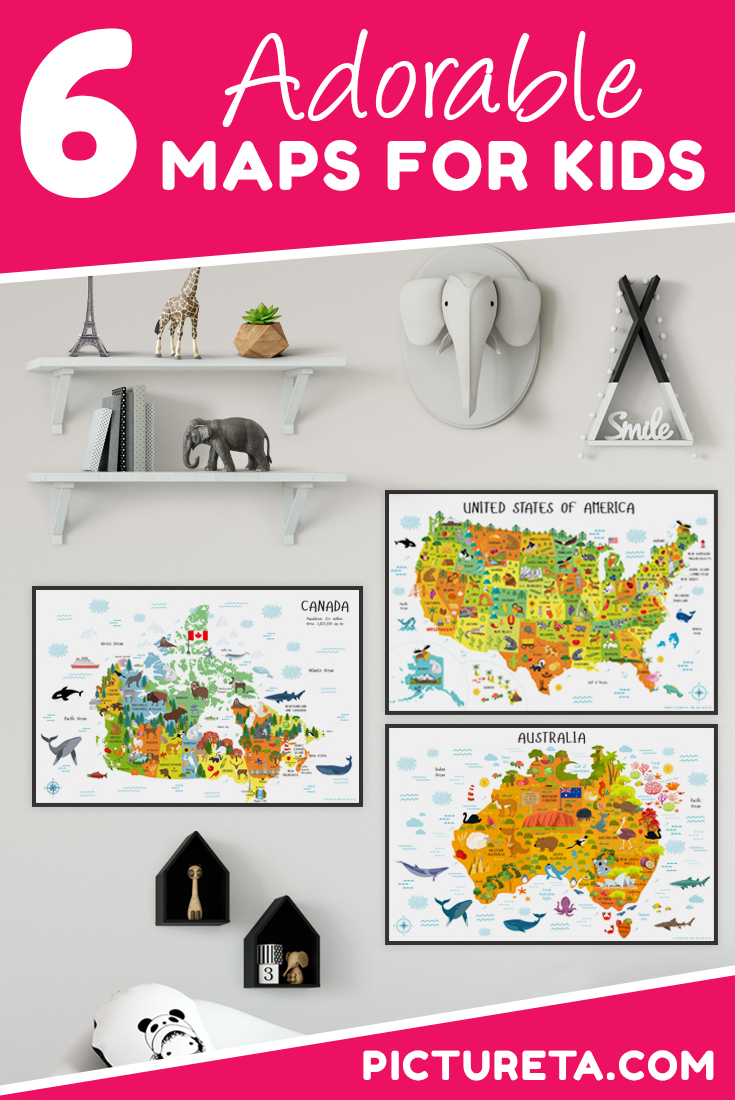 Pictureta's maps for kids is an amazing resource for parents and teachers. I love the modern design of maps including World Map, Map of USA, Australia Map, Canada Map and Africa Map. Create perfect travel nursery, fun playroom or decorate classroom to make learning geography fun for kids. Get your maps for kids at PICTURETA.COM | world map for kids, gifts for kids, travel décor, maps, geography for kids, kids room décor, kids wall art #worldmap #mapsforkids #nurserydecor #playroomdecor #classroomdecor #babygift