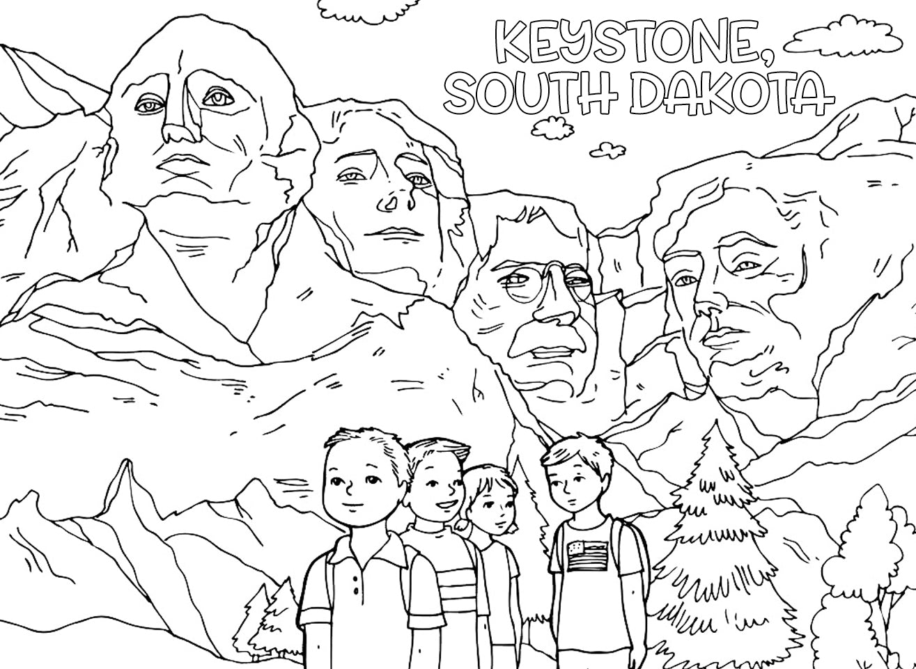 Mount Rushmore Coloring Page For Kidscoloring Pages Kids Printable Free