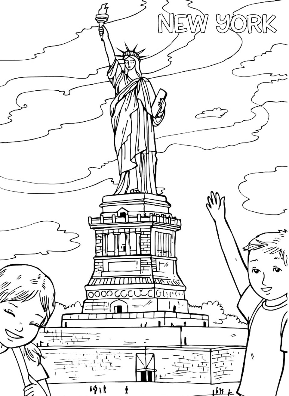 statue of liberty coloring page for kids virtren com