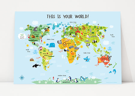 Personalized Baby Gift World Map with Blue Background by Pictureta