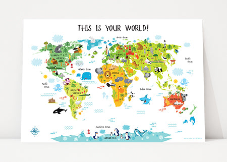 Personalized Baby Gift World Map with White Background by Pictureta