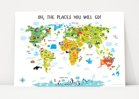 world map for kids oh the places you'll go