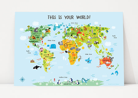 world map for kids by Pictureta