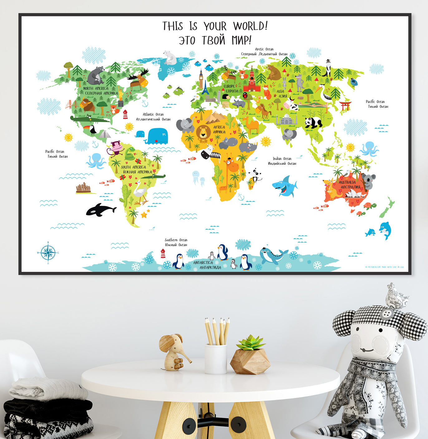 Printable russian alphabet for kids pictureta save 20 get free shipping on super cute russian english world map poster for kids use code pictureta20 gumiabroncs Choice Image