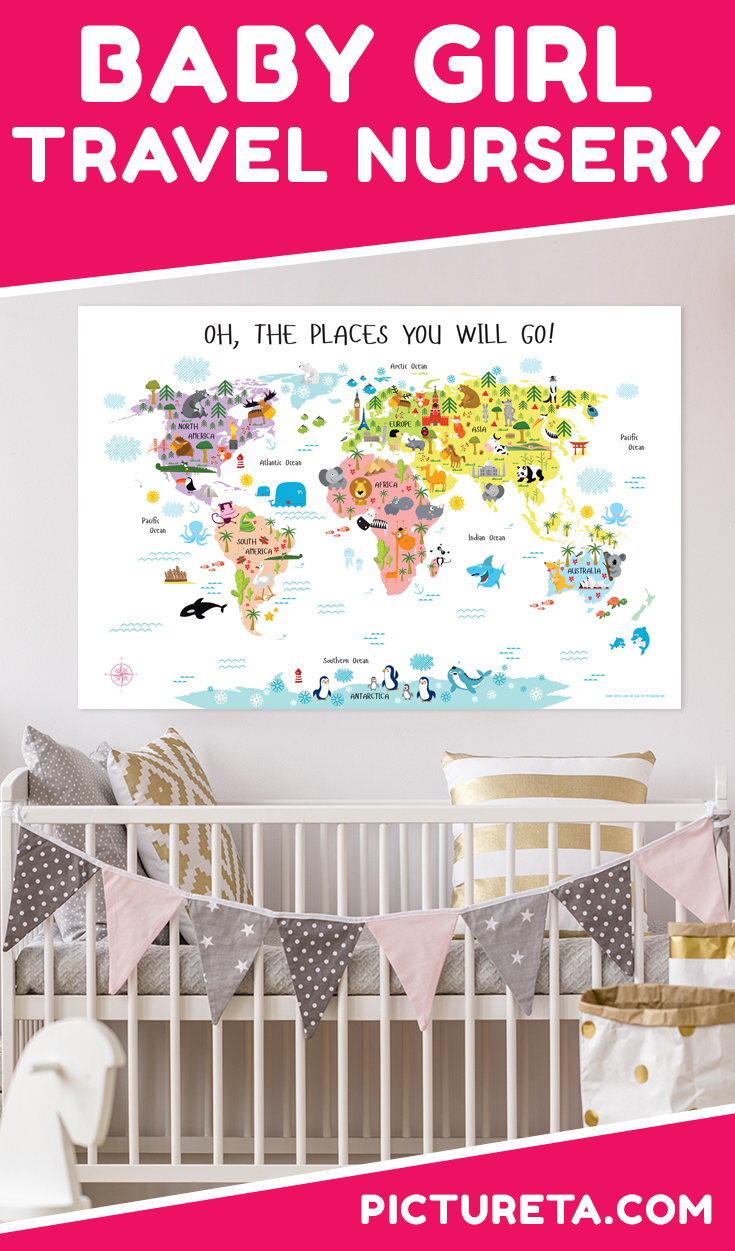 Create travel nursery for girl with Pictureta's world map for girls. I wish I had this map when growing up. It is full of adorable animals and famous landmarks and looks awesome in my baby girl's nursery. Get yours at PICTURETA.COM | travel nursery, travel nursery girl, travel nursery map, vintage travel nursery girl, girl nursery, girl nursery ideas, girl nursery themes, girl nursery décor, modern girl nursery, baby girl nursery, baby girl room, baby girl nursery room ideas, baby girl nursery themes, baby girl nursery modern #nurserydecorgirl #babygirlnursery