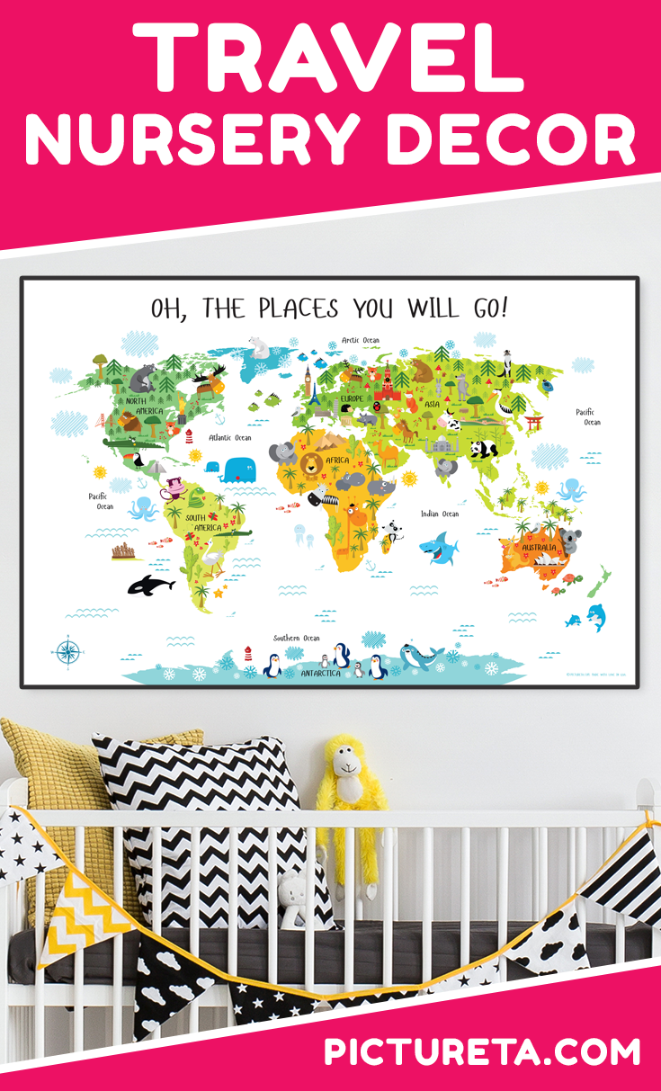 Awesome Travel Nursery Decor that will make your child's nursery inspirational and educational. Get your world map at PICTURETA.COM | travel nursery, travel nursery décor, travel nursery art, adventure nursery, nursery décor, nursery wall décor, travel nursery decor baby shower, travel nursery decor art prints, travel nursery decor gender neutral, travel nursery decor children, travel nursery decor wall maps, travel nursery decor adventure awaits, travel nursery decor products