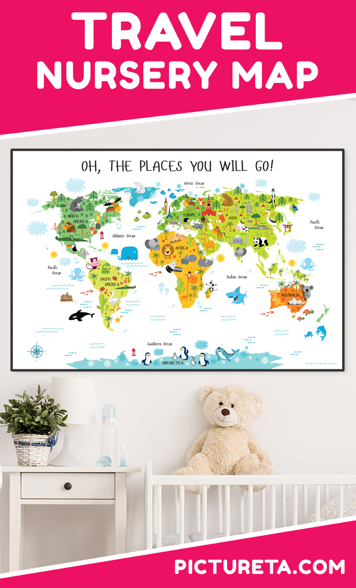 Travel nursery map with adorable animals and famous landmarks looks awesome in my child's room. I love to see my child point to different animals. Get yours at PICTURETA.COM | travel nursery, travel nursery map, travel nursery map baby shower, travel nursery map kids rooms, travel nursery map air balloon, travel nursery map products, travel nursery map gender neutral, travel nursery map adventure awaits, travel nursery map art prints, travel nursery map wall decor