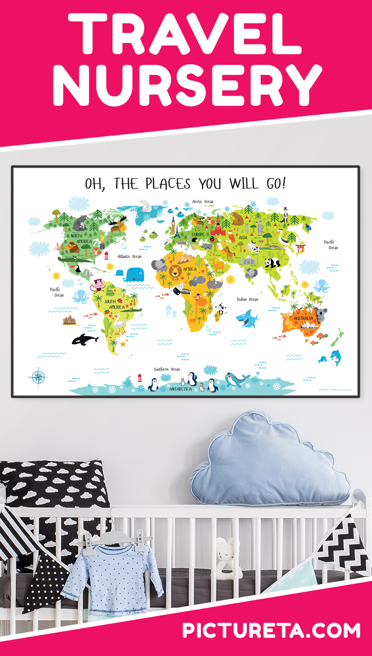 I love my son's new Travel Nursery with modern world map from Pictureta. It's super cute and looks amazing above his crib. Get yours at PICTURETA.COM | travel nursery, travel nursery theme, travel nursery decor, travel nursery boy, travel nursery guest rooms, gender neutral travel nursery, world travel nursery, travel nursery ideas, adventure travel nursery, travel nursery printables, travel nursery map, travel nursery wall, travel nursery art, modern travel nursery
