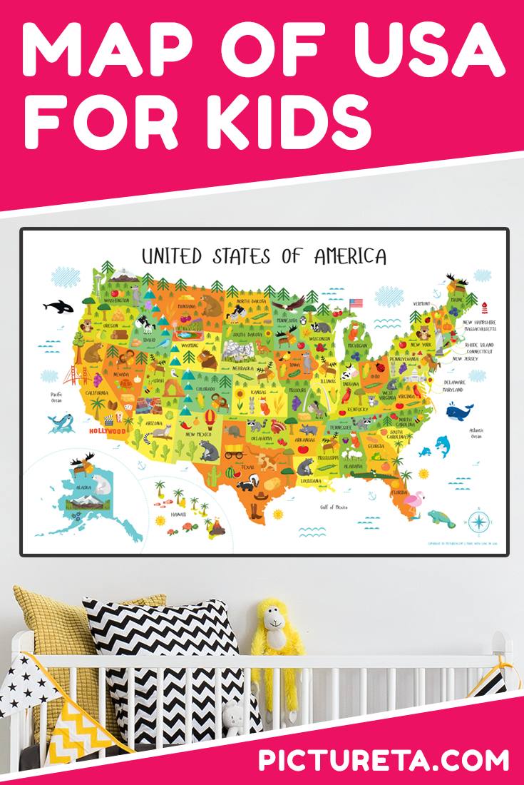 My toddler loves this US map for kids! Amazing and colorful details pop up and perfect conversation piece in our playroom. Every day my son learns about different animals that live in different 50 US states. Adorable addition in our playroom. Perfect gift for kids that inspires to travel America from the comfort of your home. Get yours at PICTURETA.COM | USA map for kids, US map, United States Map, Kids Room Décor, playroom décor, nursery décor, classroom poster, classroom décor, educational printables #usmapforkids #usmap #mapofusa