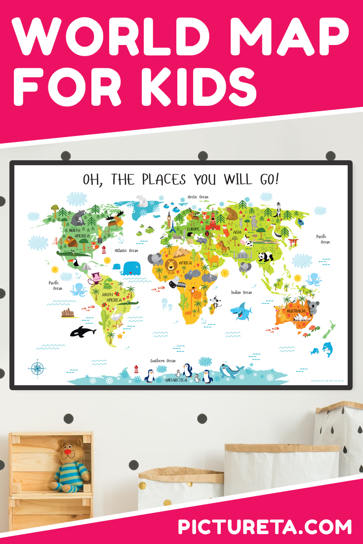 I love this world map for kids. It is colorful, educational and super cute. My toddler loves to point out animals and landmarks. Looks awesome in my toddler room. Get yours at PICTURETA.COM | world map for kids printable, world map for kids room, kids world map, nursery décor, playroom décor, travel theme nursery, kids map art, world map for kids room, geography for kid, world map for kids learning, kids world map poster #worldmap #worldmapforkids #kidsworldmap