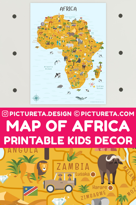 Map of Africa, Africa Poster for Kids printable map will make a perfect kids décor in playroom or classroom. Inspire your child to learn facts about Africa. Africa geography is fun with Pictureta's Map of Africa. Learn about African countries, African landmarks, African animals, African cuisine and African natural resources. DOWNLOAD AND PRINT AT PICTURETA.COM | Geography for Kids, Africa Poster for Kids, Africa poster, Africa Safari, Africa Art, Africa Travel, African Décor, African Print, Africa Map Print