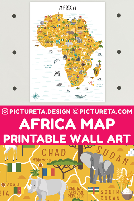 Africa Map printable map will make a perfect kids décor in playroom or classroom. Inspire your child to learn facts about Africa. Africa geography is fun with Pictureta's Map of Africa. Learn about African countries, African landmarks, African animals, African cuisine and African natural resources. DOWNLOAD AND PRINT AT PICTURETA.COM | Geography for Kids, Africa Poster for Kids, Africa poster, Africa Safari, Africa Art, Africa Travel, African Décor, African Print, Africa Map Printable, Africa Map Art, Afric