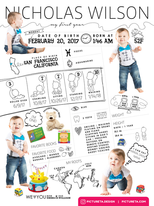 First Birthday Poster - Photoshop Template -  Baby Infographic Editable Template for Boys