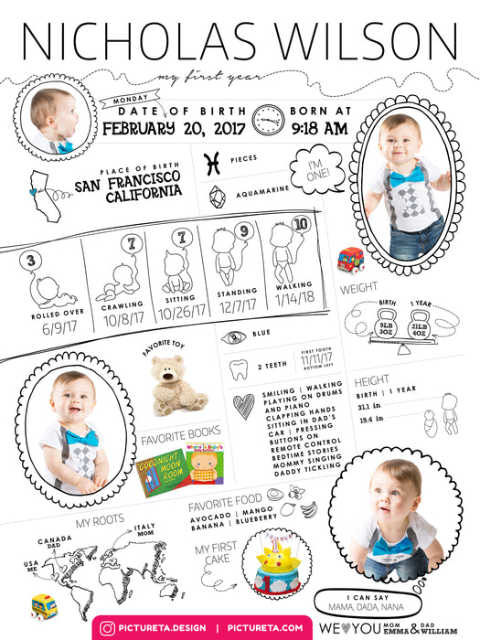 First Birthday Poster - Baby Infographic Editable Template for Boys