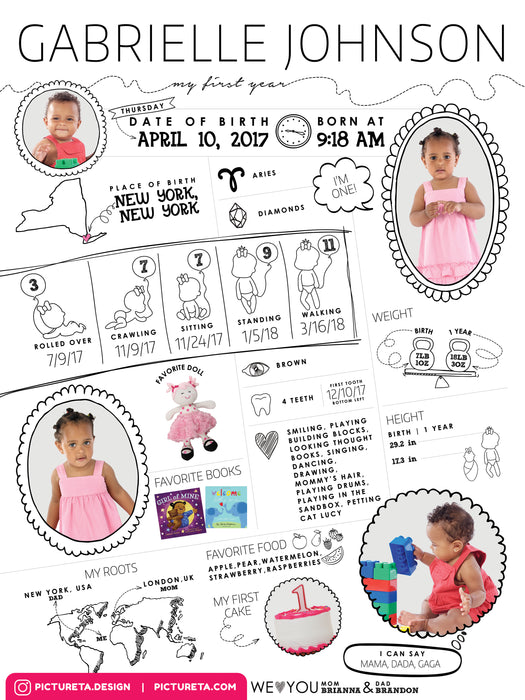 First Birthday Poster - Baby Infographic Editable Template for Girls