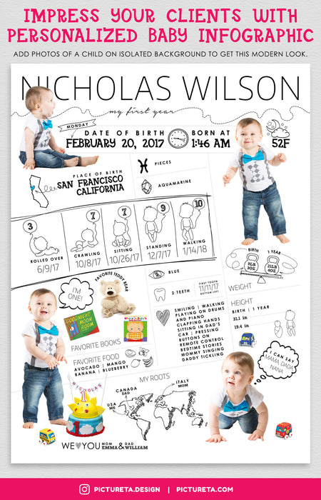 Baby Infographic, Editable Template, Baby Infographic, Photoshop Templates, Baby Infographic Template, Baby's First Year, PSD Templates, Photography Templates, Baby Gift