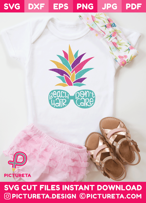 Beach Svg – Beach Hair Don't Care SVG File with Pineapple SVG and Sunglasses Svg. This cute Svg File for Cricut is very easy to use. Download SVG Files at www.pictureta.com and make this cute tshirt. Baby Svg Girl, Baby Svg Boy, Cute Baby Svg, Newborn Svg