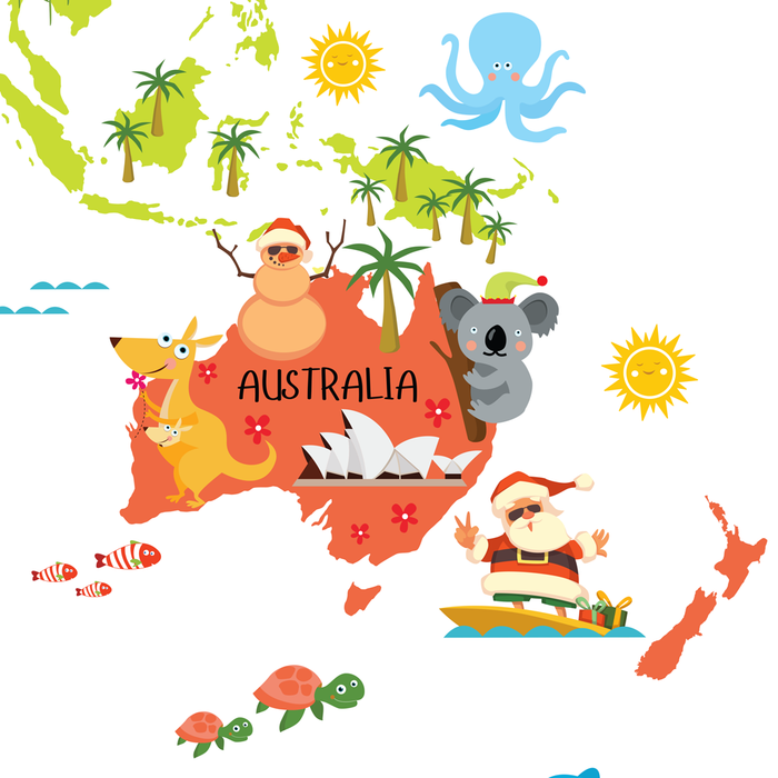 Santa Clause from Australia, world map for kids, christmas around the world, santas around the world by Pictureta